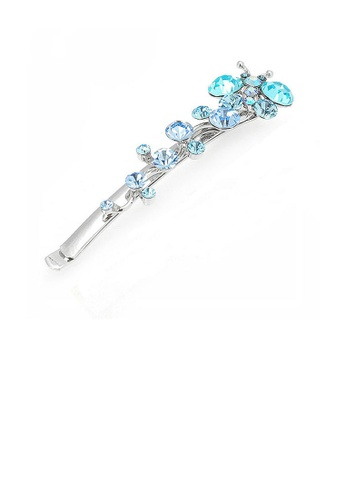 Glamorousky blue Flying Butterfly Hair Clip in Blue Austrian Element Crystals CDF1BAC84182B6GS_1