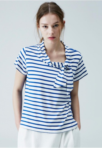 Sweet One Eighty white and blue Ribbon Point Sailor Top SW186AA58ZRPSG_1
