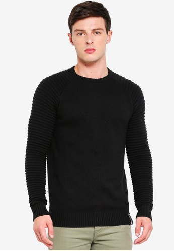 Indicode Jeans black Maxime Ribbed Raglan Knitted Sweater 5614CAA632204BGS_1