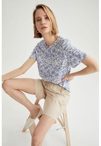 DeFacto blue Woman Woven Short Sleeve Blouse 34FCDAA5FCC2BDGS_1