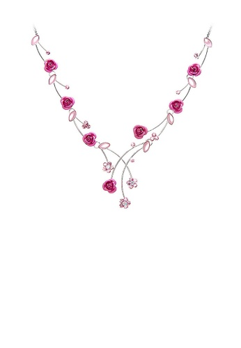 Glamorousky silver Elegant Rose Necklace with Pink Austrian Element Crystals and Crystal Glass E5CE1ACD8D9B88GS_1