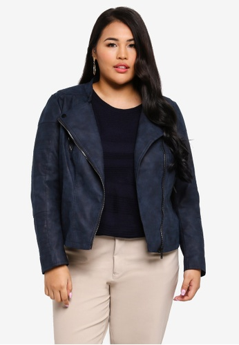 78d9f6722e5 Only CARMAKOMA navy Plus Size Avana Faux Leather Biker Jacket  531D5AA6041951GS 1