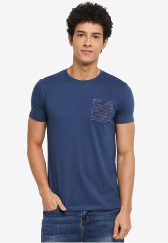Penshoppe blue Semi Fit T-Shirt With Pocket 0DE1AAAA3A6E21GS_1
