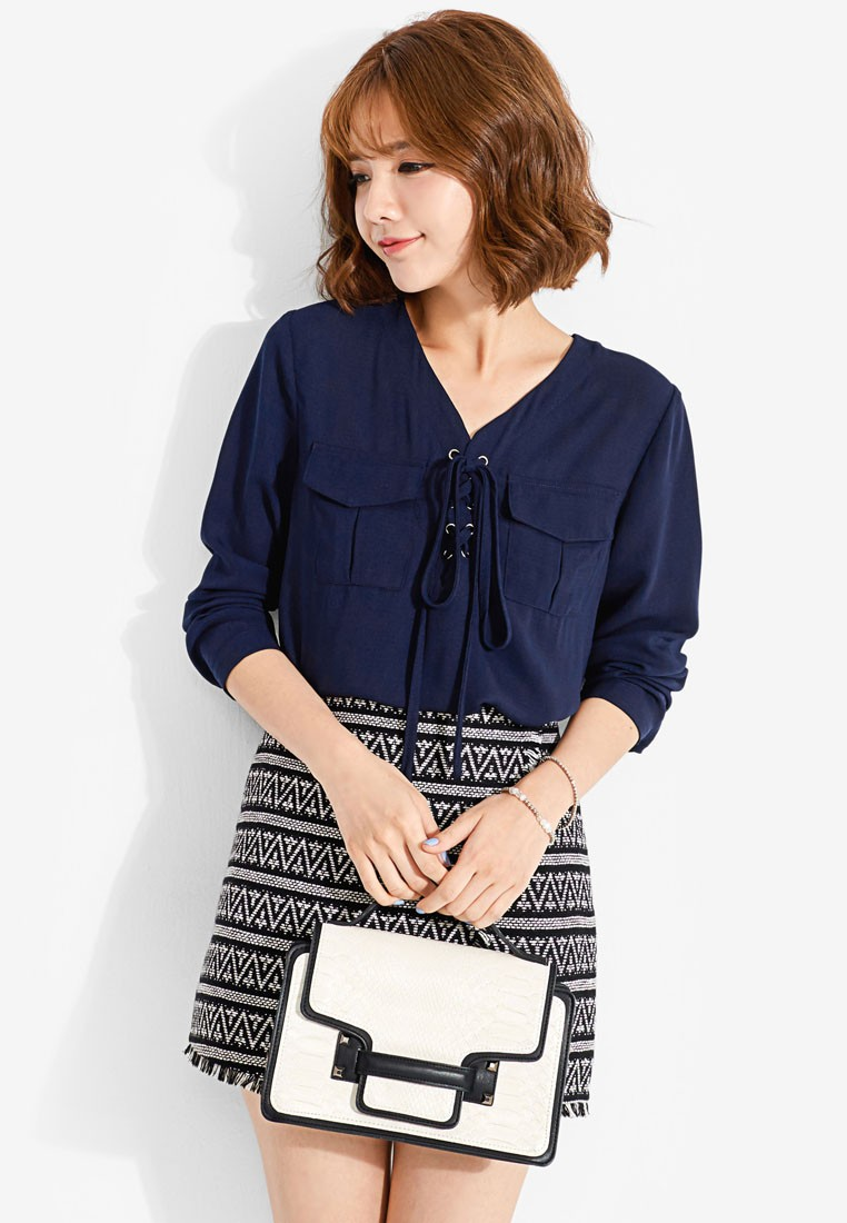 Pocket and Tie Front Blouse