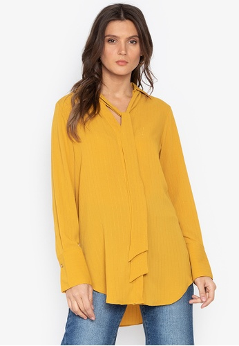 MARKS & SPENCER yellow V-Neck Longline Long Sleeve Blouse 007CDAAEF32BA2GS_1