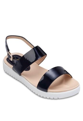 金屬感雙帶厚底繞踝涼鞋, 女鞋esprit 工作, 涼鞋