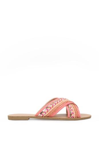 London Rag pink London Rag Sage Women's Coral Cross Strap Glamrous Flat Embellished Sandals Sh1570 87A8DSHF593ED0GS_1
