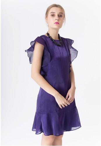 United Concepts purple Ruffled Sleeves 'Jocelyn' Dress 9C548AA83303E8GS_1