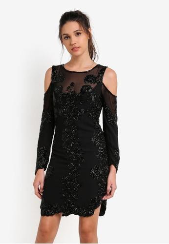Miss Selfridge black Premium Cold Shoulder Shift Dress MI665AA0RX9GMY_1
