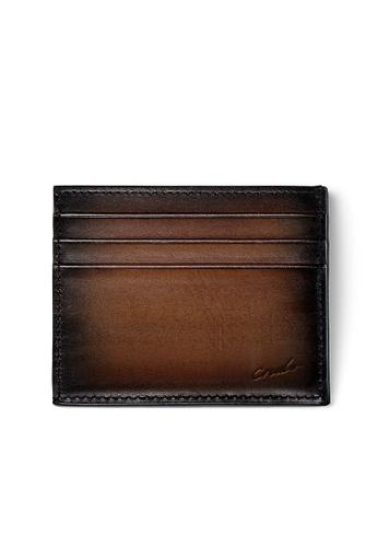 Crudo Leather Craft brown Sen'zaltro Credit Card Holder - Vintage Brown C3BF8AC45A1465GS_1