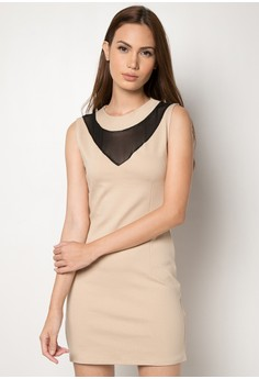 Arielle V-Mesh Bodycon Dress