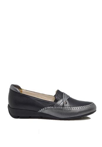 messe 黑色 撞色手縫柔軟真小羊皮舒適釋壓樂福鞋 ME601SH09Q4UTW_1