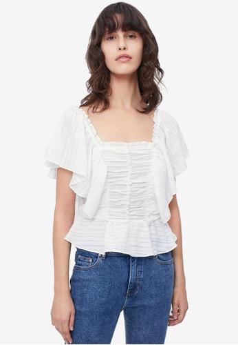 Urban Revivo white Flowy Textured Blouse A7E3CAA4EF1BF1GS_1