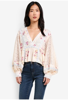 3c5a0d0618cc Free People white Boogie All Night Printed Blouse FR659AA0SD0BMY 1 80% OFF  Free People Boogie All Night Printed Blouse RM 769.00 NOW RM 153.90 Sizes L