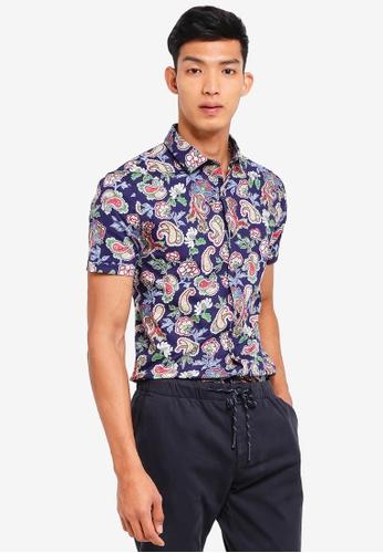 Topman blue Blue Paisley Rose Short Sleeve Shirt 574A2AA95F4DD7GS_1