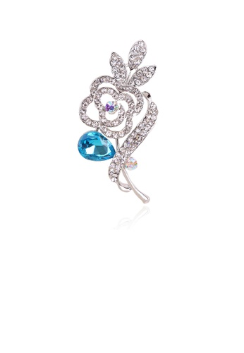 Glamorousky white Fashion Simple Blue Flower Brooch with Cubic Zirconia 5D61EAC6F62C7DGS_1