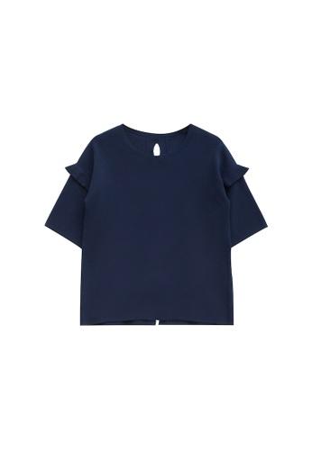 KLAPS 海軍藍色 背部綁帶設計針織短袖衫 D2C69AAB85DF07GS_1