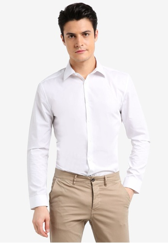 Burton Menswear London white Muscle Fit White Essential Formal Shirt 6B805AACAA70EFGS_1