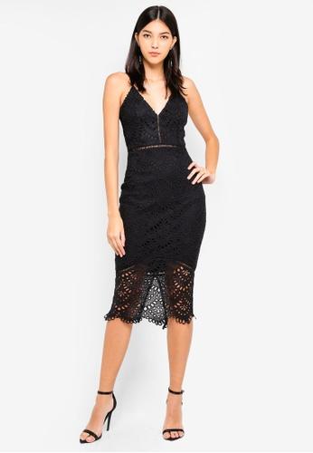 MISSGUIDED black Ladder Lace Midi Dress F8835AAE0029BDGS_1