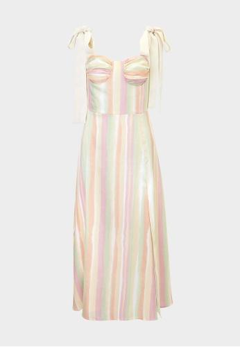 Pomelo multi Watercolor Stripe Tie Shoulder Dress - Multi Color 1B5CCAAB61F6FDGS_1