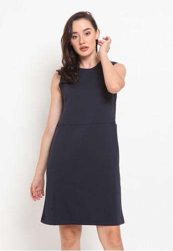 The Executive navy Knit A-Line Dress 6402EAA7BA684EGS_1