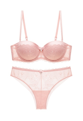 ZITIQUE pink Young Girls' Trendy 3/4 Cup Lace-trimmed Underwire Push Up Padded Lingerie Set (Bra And Underwear) - Pink A35CDUS98109BEGS_1