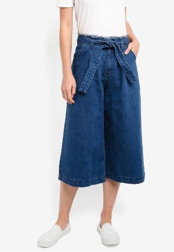 ZALORA blue High Waist Wide Leg Cropped Jeans EC953AA09A926BGS_1