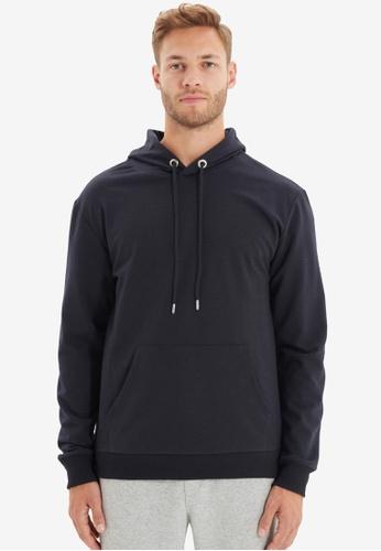 Trendyol navy Navy Hoodie Sweatshirt 89007AAF2E62F7GS_1