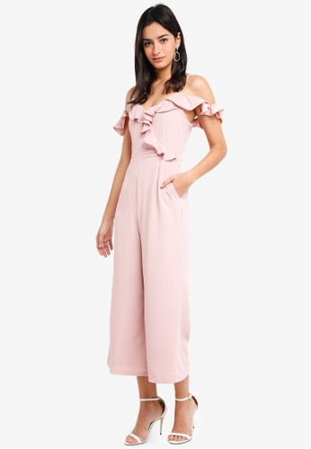 MDSCollections pink Asymmetrical Frilly Jumpsuit In Pink 5BCF5AA5B2D1A8GS_1