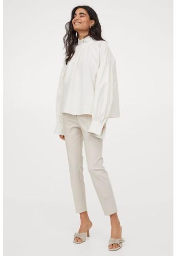 H&M beige Cigarette trousers F12A3AAD1B4DEBGS_1