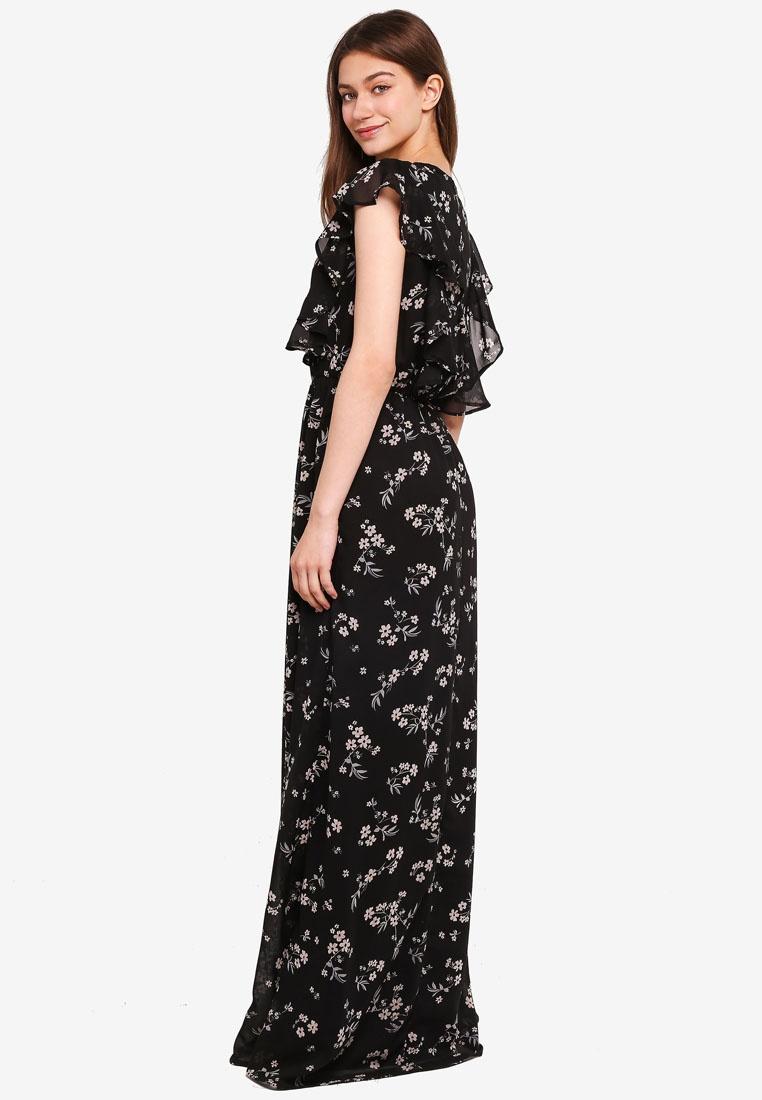 Maxi London Ruffle Black Mela Print Dress Side RqzHwOER