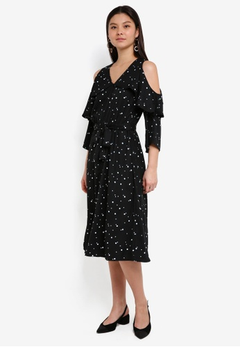 Y.A.S black Amila Cold Shoulder Dress 0971FAA9FB1CE0GS_1
