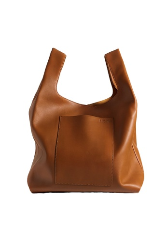 "LINGWU brown LINGWU Le Sac Tan 12"" shoulder bag BD072AC1544FBDGS_1"