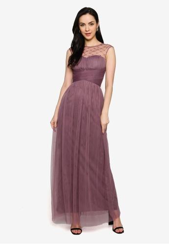 Little Mistress purple Deep Mink Emb Maxi Dress 23D30AAF4F7880GS_1