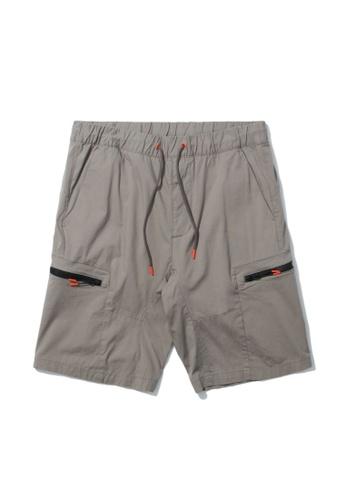 Fingercroxx grey Zip pocket shorts E8070AA2C54C22GS_1