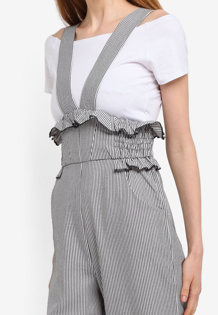 Trousers Grey LOST INK Smock Dungaree Waist x6XnFqZI