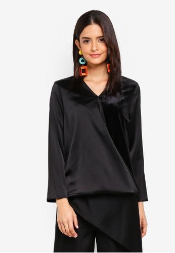 Zalia black Velvet Sleeves Wrap Top 30835AA39F96A9GS_1