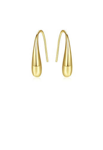 Glamorousky silver 925 Sterling Silver Plated Gold Fashion and Elegant Water Drop Earrings 6764CAC25142D6GS_1