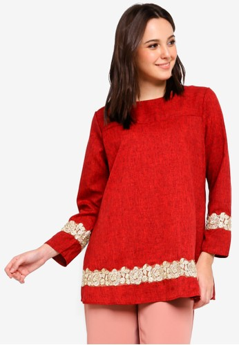 BYN red Lace Patch Blouse 72E0EAA1DC5066GS_1