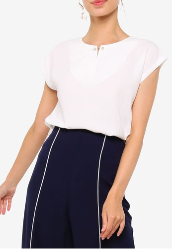 ZALORA WORK white Short Sleeve Bar Detail Top 98582AA88B5DFEGS_1