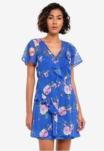 Miss Selfridge blue Petite Blue Floral Print Skater Dress MI665AA0RQJ1MY_1