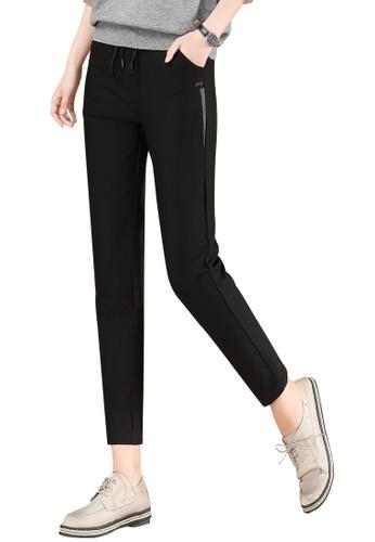 A-IN GIRLS black Elastic Waist Black Casual Pants F54F2AA577AE4AGS_1
