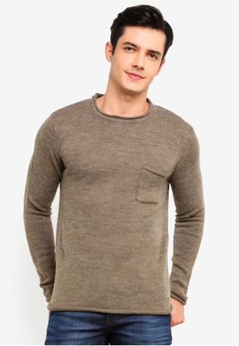 !Solid 綠色 Squire 羅紋Raw Edge 針織Sweater 7D7CDAAD1982B0GS_1