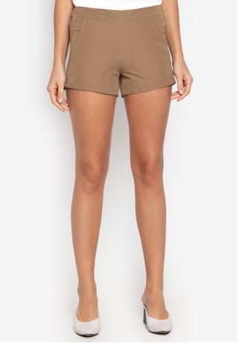 Courier brown Easy Plain Shorts 3B3BFAA0EDE083GS_1