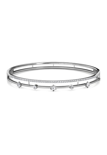 Her Jewellery silver Swarovski® Crystals - Blossom Crystal Bangle (White Gold) (18K White Gold Plated) Her Jewellery HE581AC0RVG0MY_1