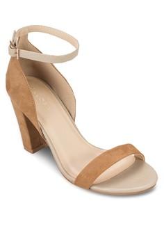 【ZALORA】 包跟踝帶粗跟涼鞋