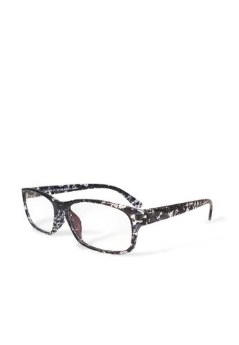ASLLY black Splash painting │Anti-blue light glasses with TR90 splash painting rectangle frame DBE81GL95B3F5BGS_1