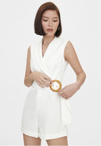 Pomelo white Buckle Belt Sleeveless V Neck Romper - Off-White 5119AAAB80BE68GS_1