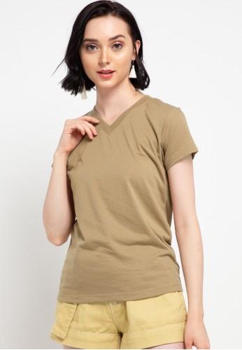 Tolliver brown V Neck Basic Short Sleeve Tee 0F475AA3B7B13CGS_1