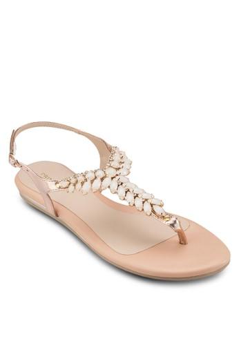 Saphie 閃esprit hong kong 分店石T 字帶涼鞋, 女鞋, 鞋